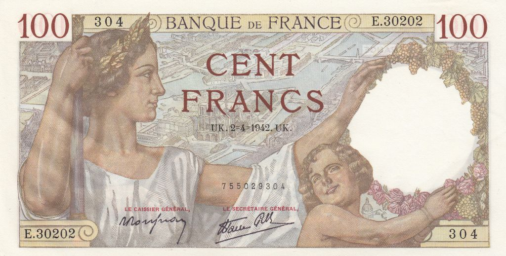 France 100 Francs Sully - 02-04-1942 - Serial E.30202