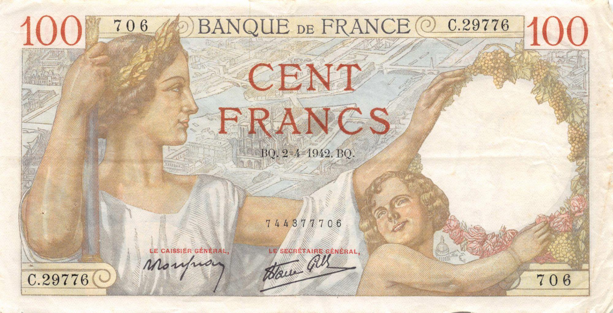 France 100 Francs Sully - 02-04-1942 Serial C.29776 - VF