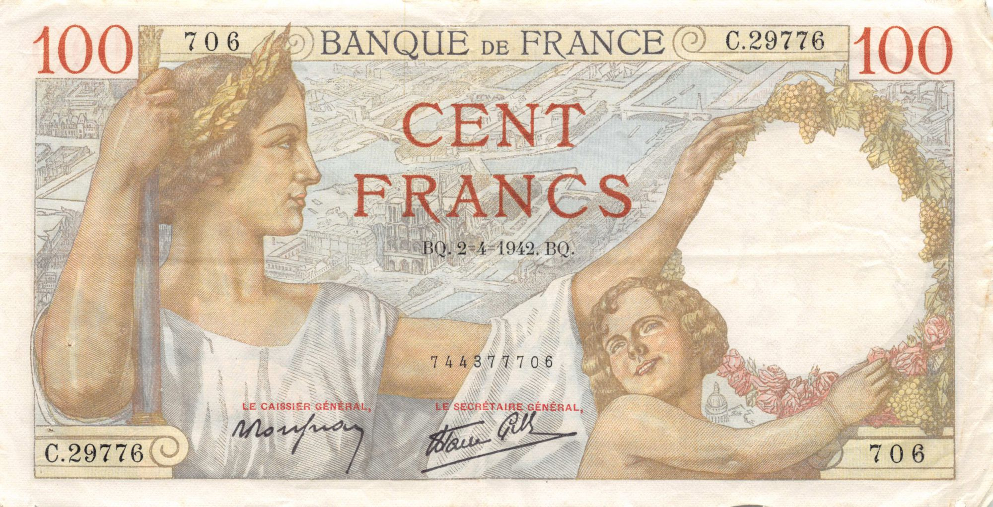 France 100 Francs Sully - 02-04-1942 Série C.29776 - TTB