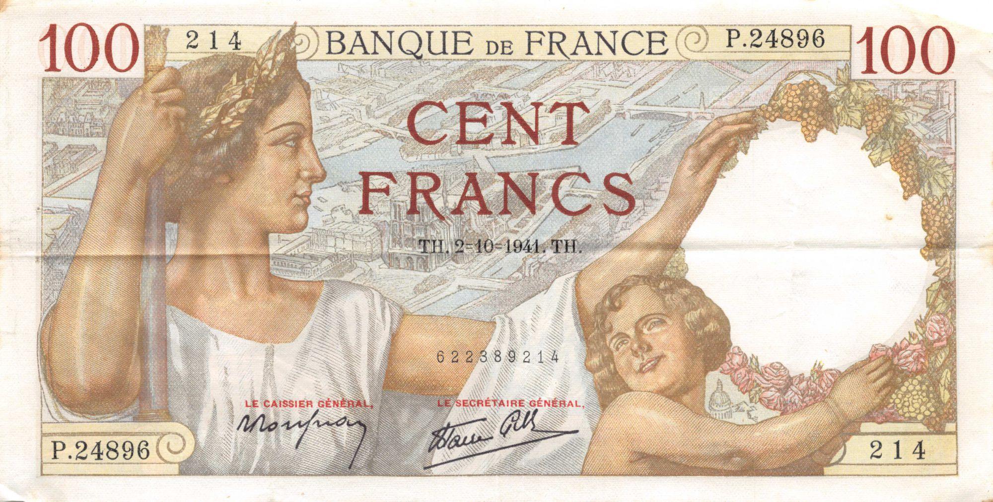 France 100 Francs Sully - 02-10-1941 Série P.24896 - TTB