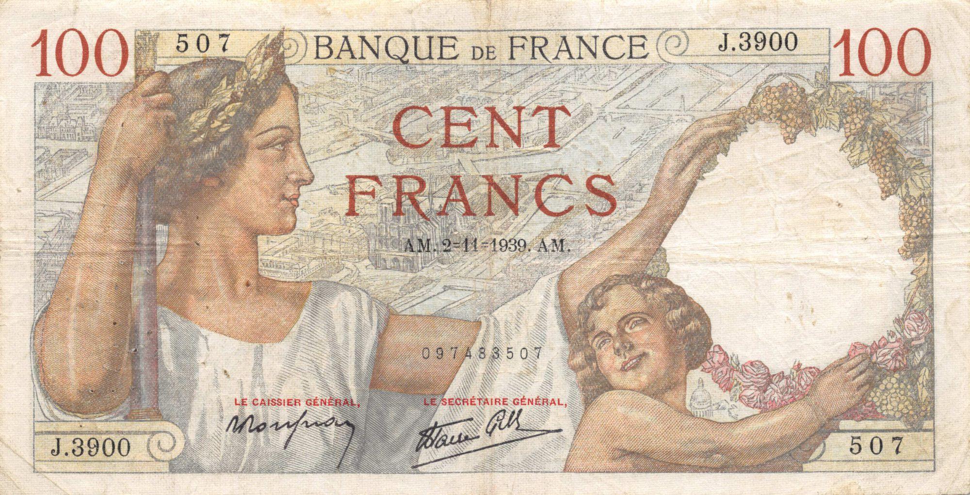 France 100 Francs Sully - 02-11-1939 Série J.3900 - TB