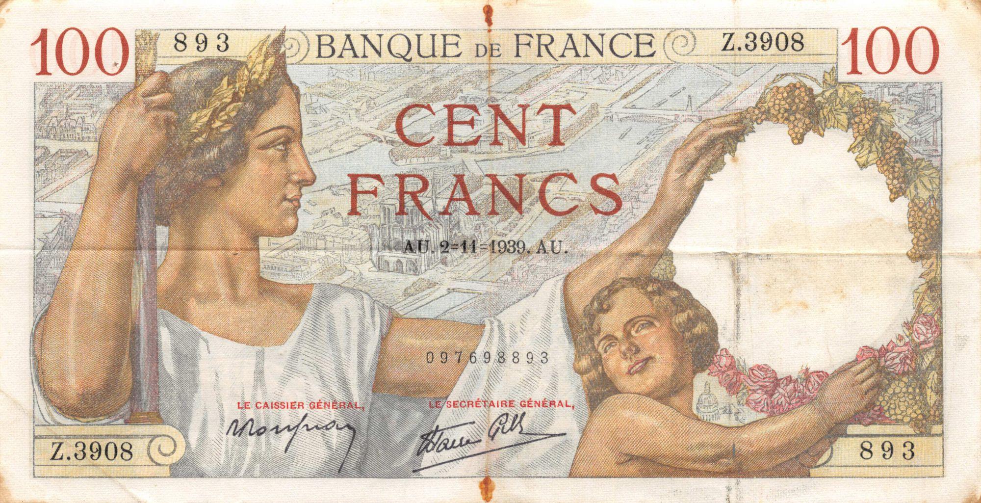 France 100 Francs Sully - 02-11-1939 Série Z.3908 - TB+