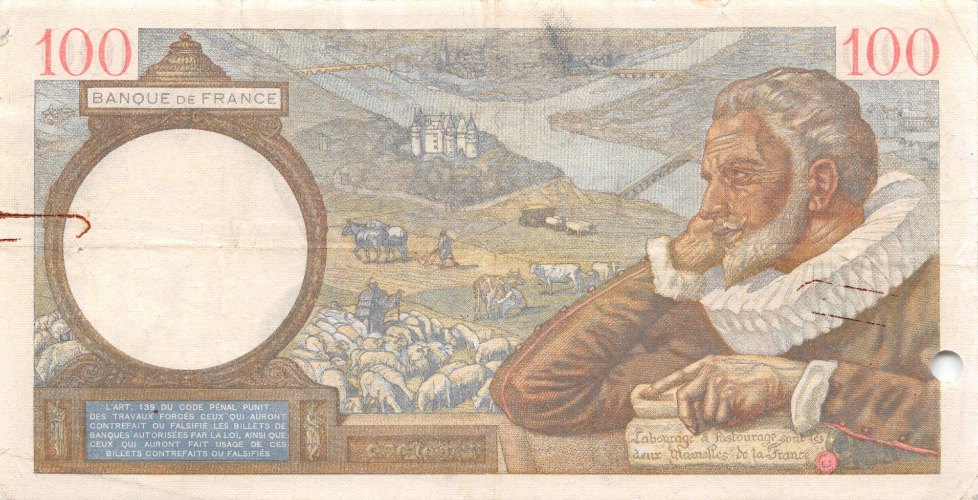 France 100 Francs Sully - 04-04-1940 Série Y.9174 - TB+