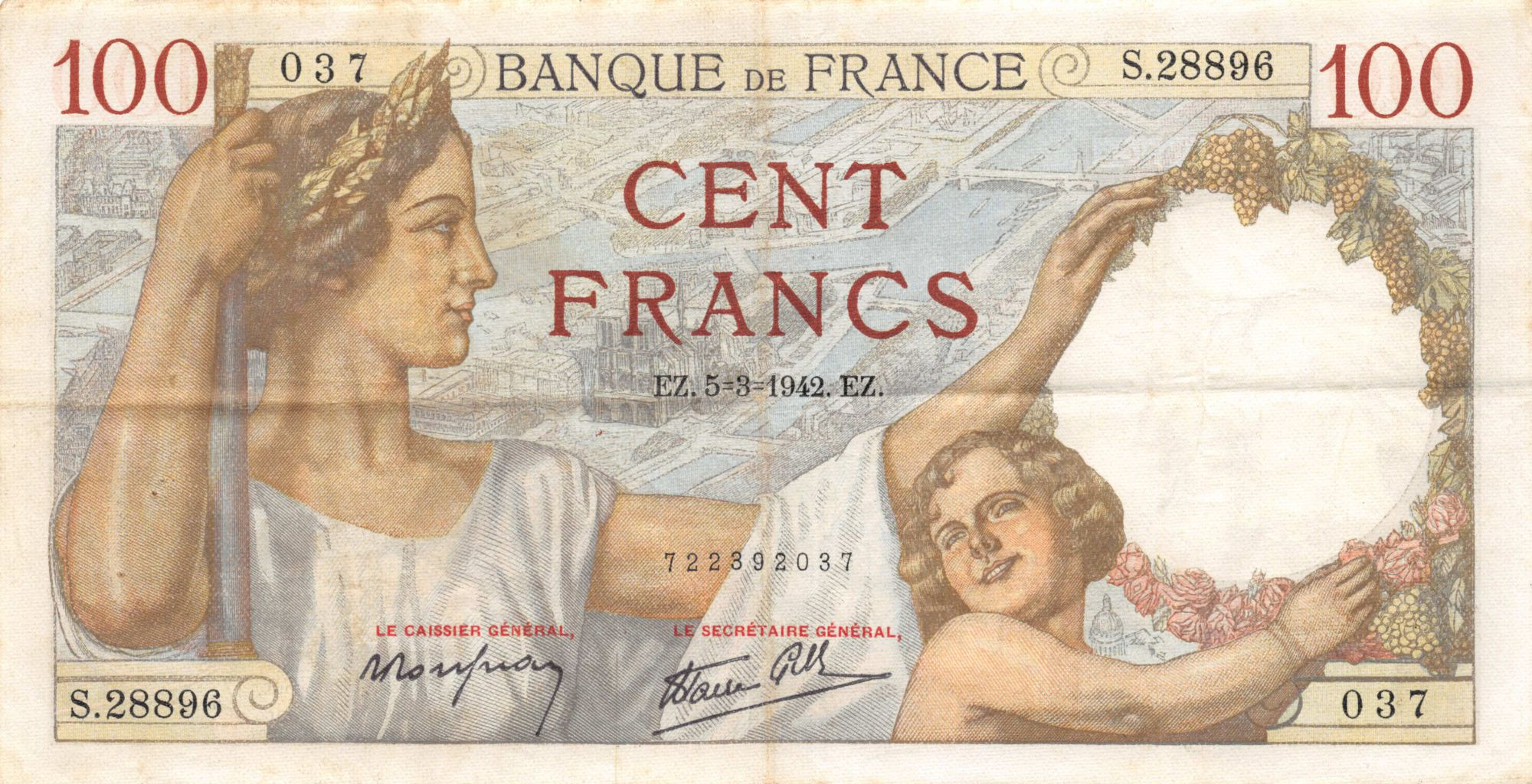 France 100 Francs Sully - 05-03-1942 Serial S.28896 - VF