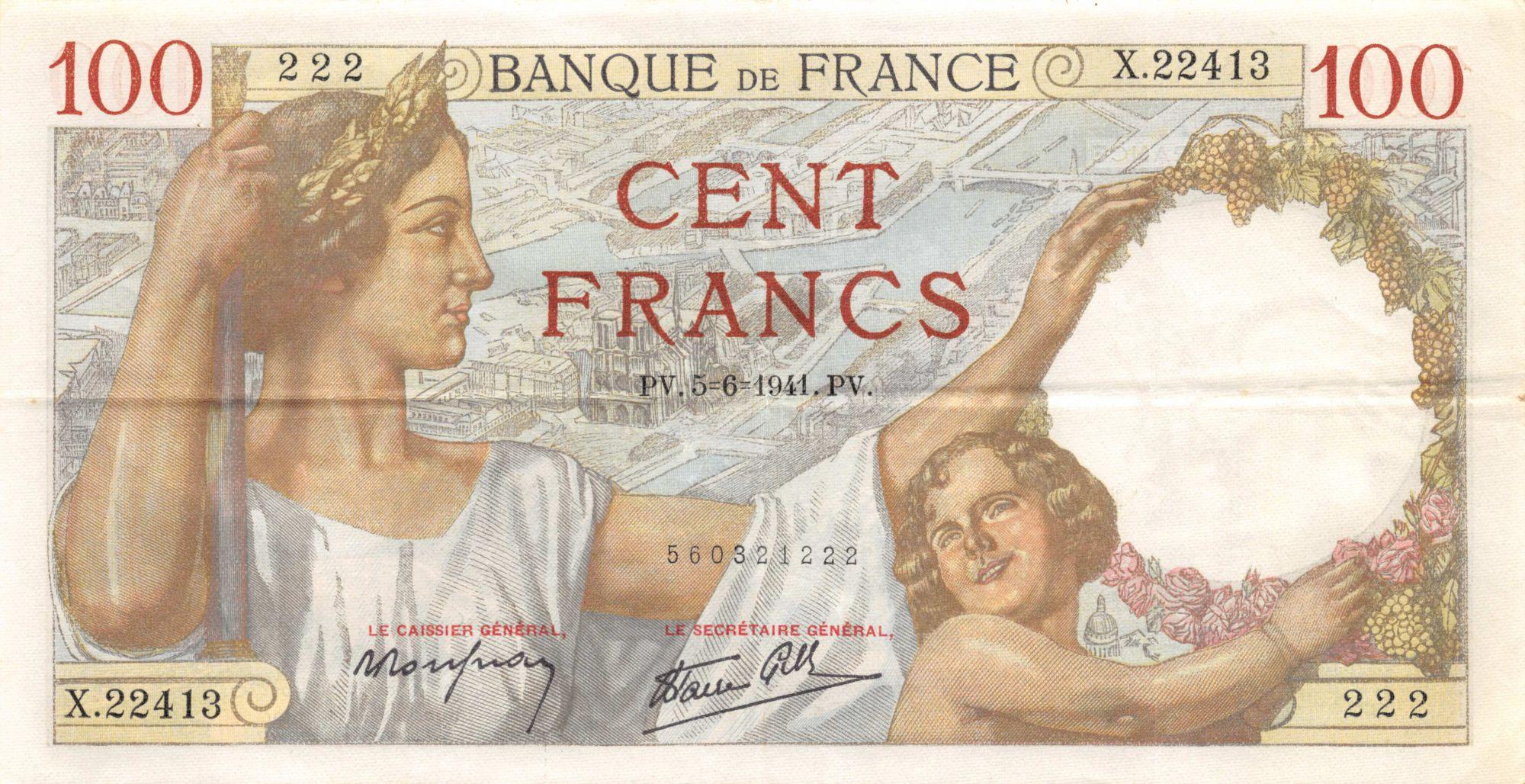 France 100 Francs Sully - 05-06-1941 Série X.22413 - TTB