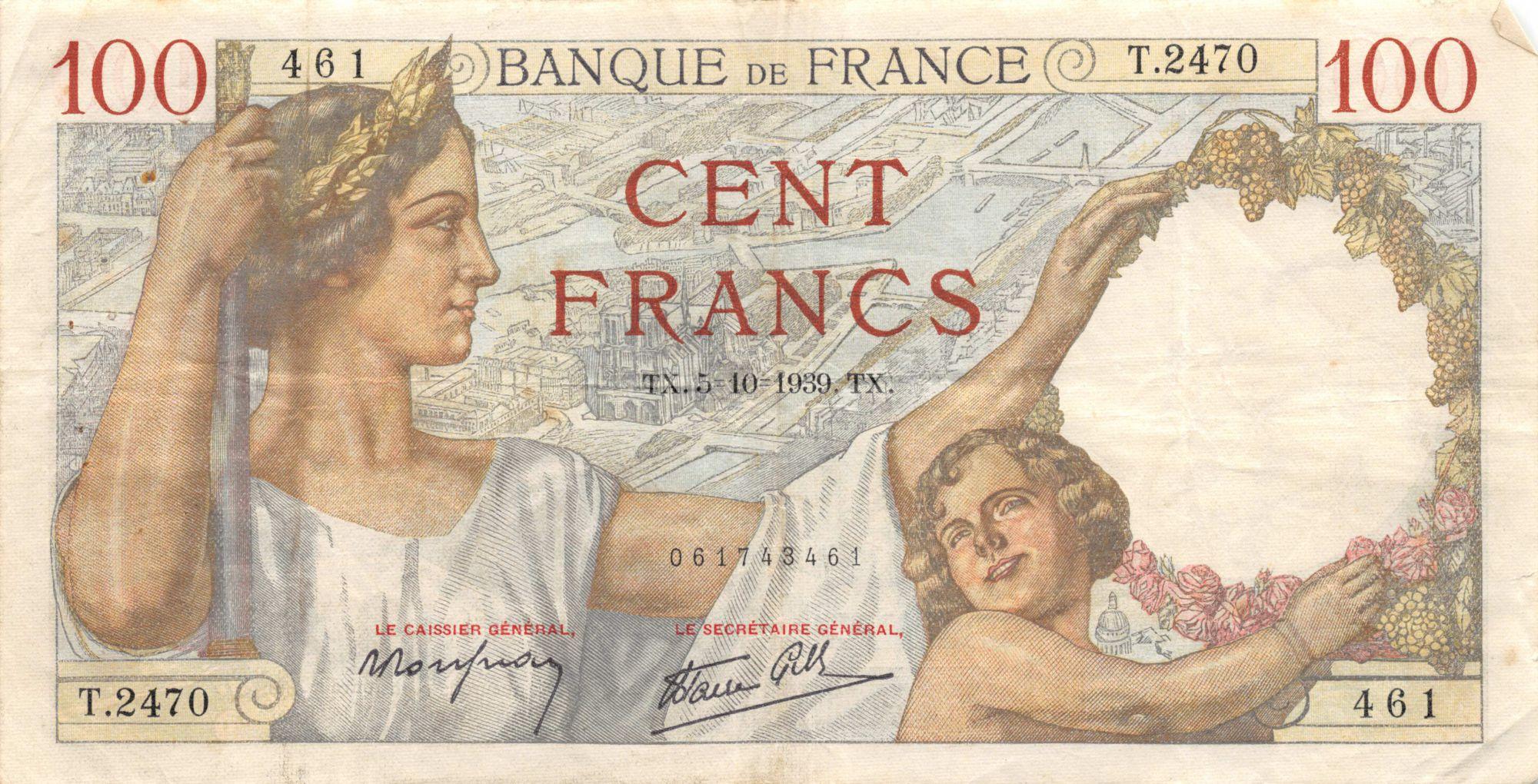 France 100 Francs Sully - 05-10-1939 Série T.2470 - TTB