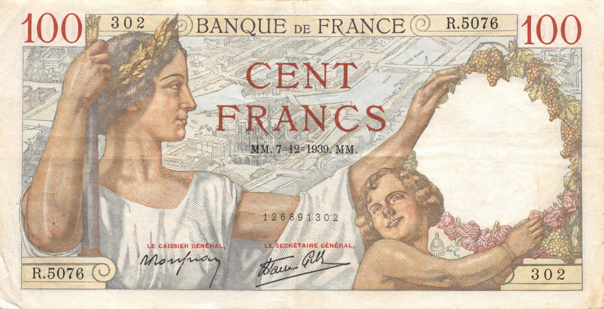 France 100 Francs Sully - 07-12-1939 Série R.5076 - TTB