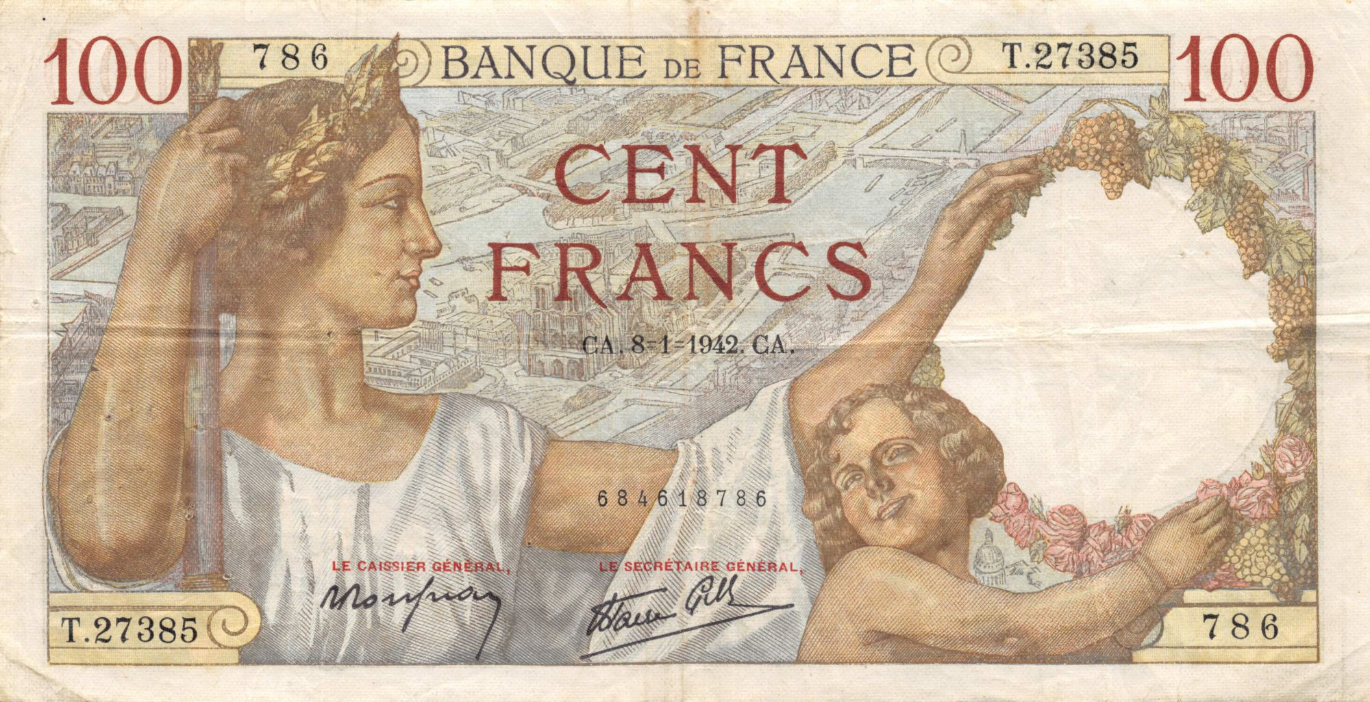 France 100 Francs Sully - 08-01-1942 Série T.27385 - TTB