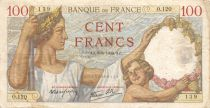 France 100 Francs Sully - 08-06-1939 Serial O.120 - F to VF