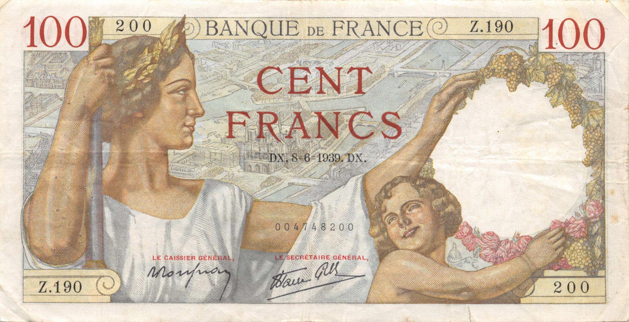 France 100 Francs Sully - 08-06-1939 Série Z.190 - PTTB