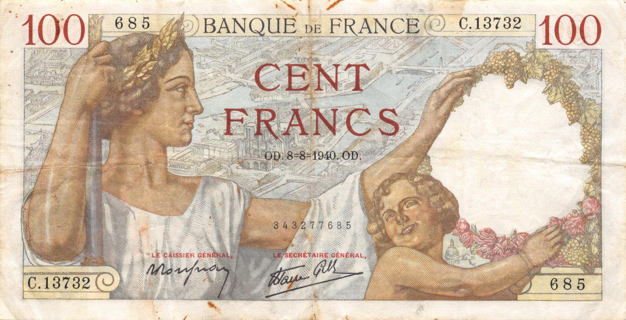 France 100 Francs Sully - 08-08-1940 Série C.13732 - TB