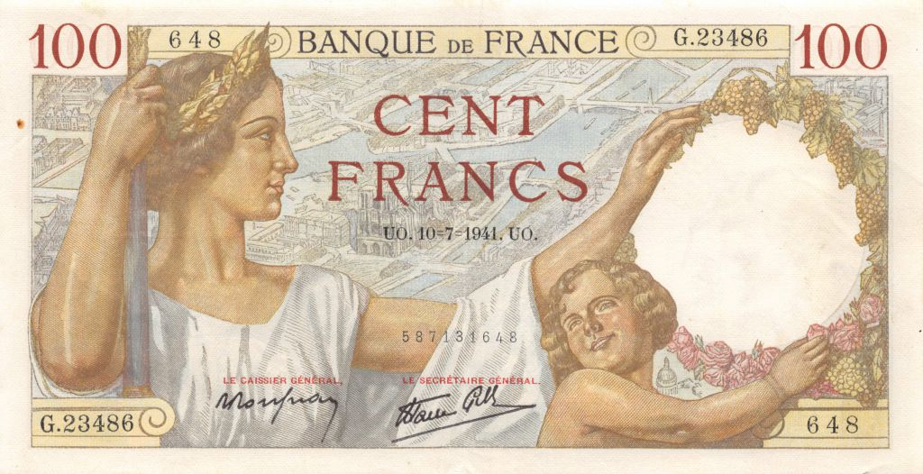 France 100 Francs Sully - 10-07-1941 Série G.23486 - TTB