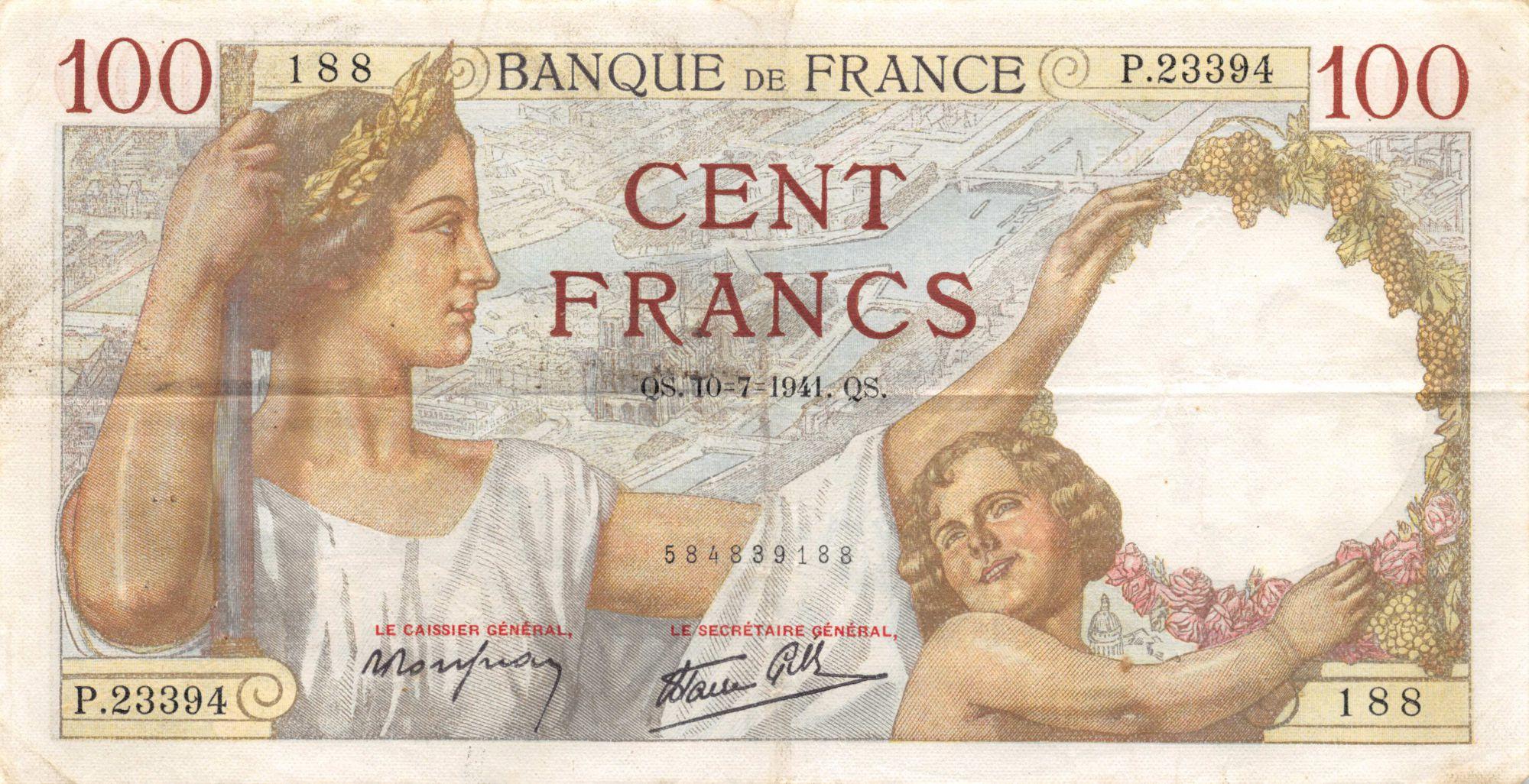 France 100 Francs Sully - 10-07-1941 Série P.23394 - TTB