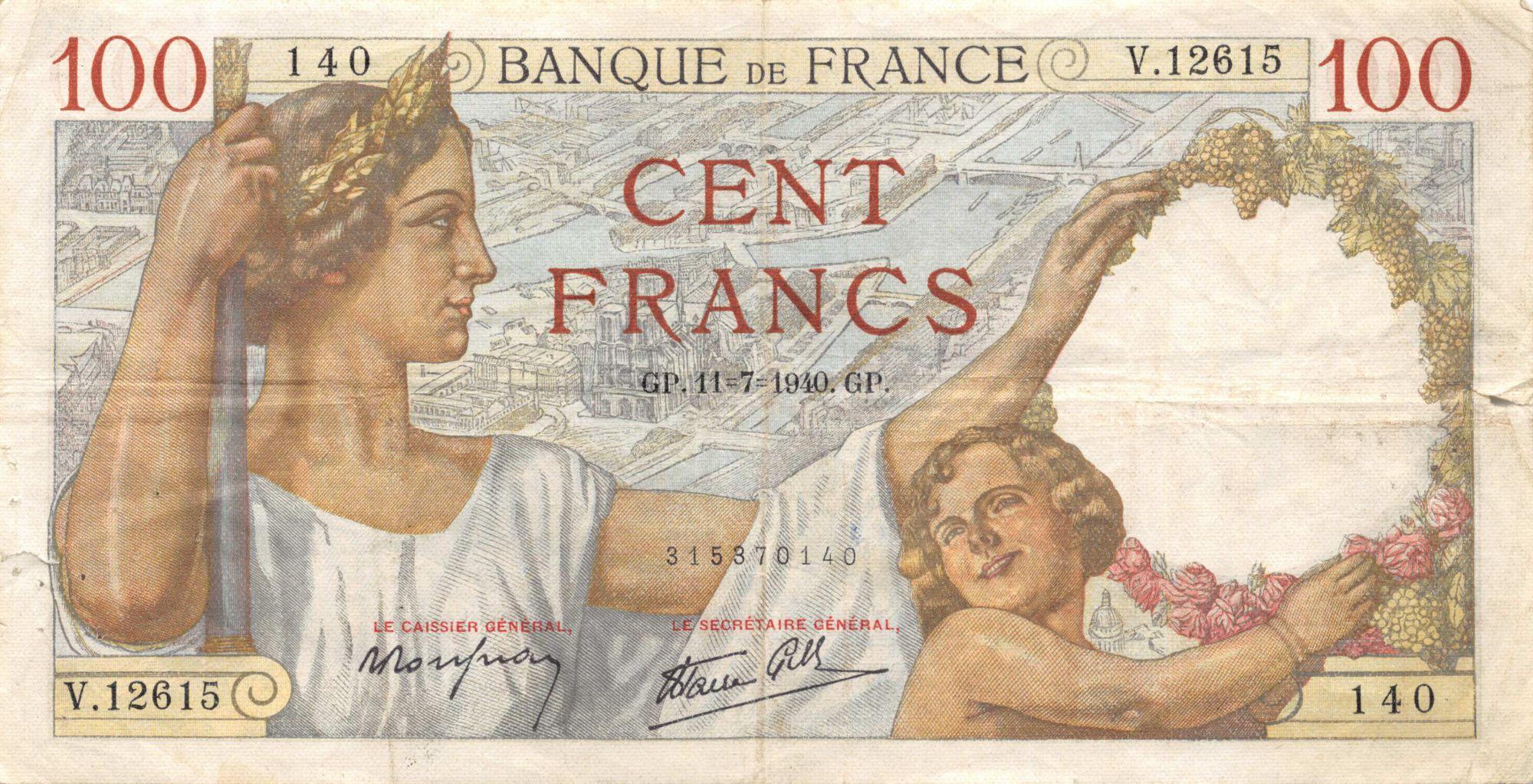 France 100 Francs Sully - 11-07-1940 Série V.12615 - TB+