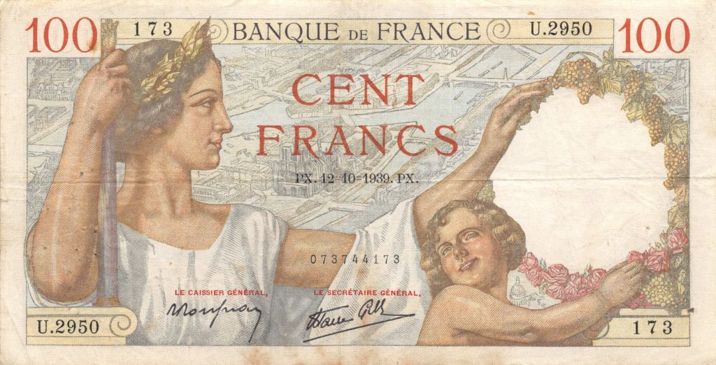 France 100 Francs Sully - 12-10-1939 Série U.2950 - TTB