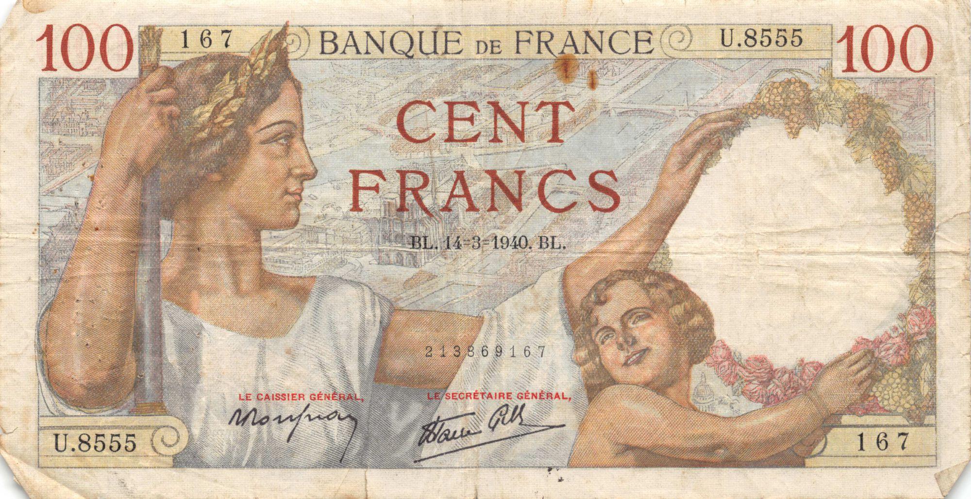 France 100 Francs Sully - 14-03-1940 Série U.8555 - TB