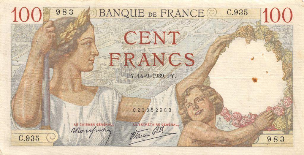 France 100 Francs Sully - 14-09-1939 Série C.935 - TTB