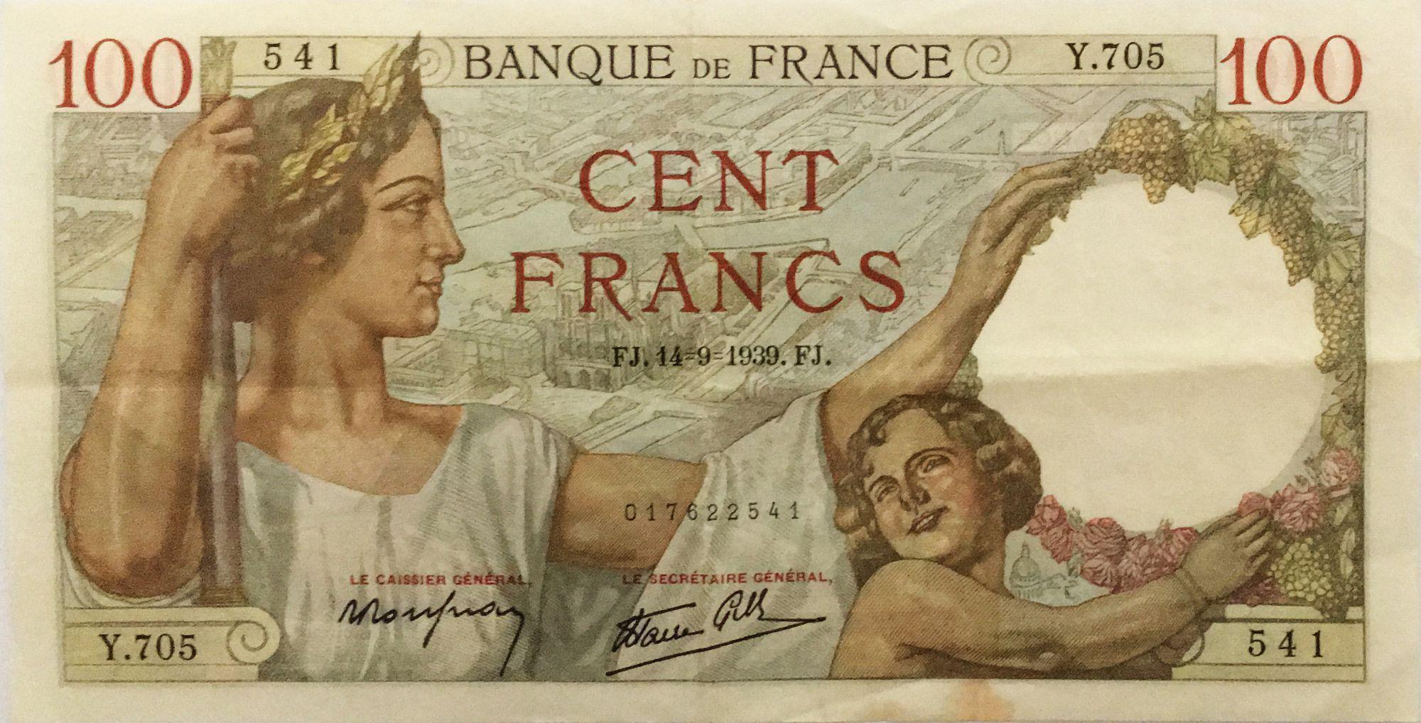 France 100 Francs Sully - 14-09-1939 Série Y.705 - TTB
