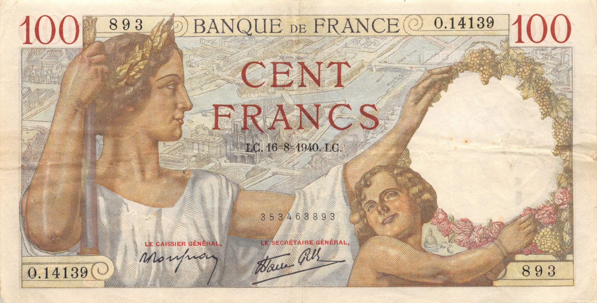 France 100 Francs Sully - 16-08-1940 Série O.14139 - TTB