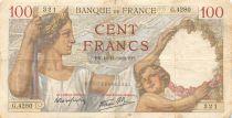 France 100 Francs Sully - 16-11-1939 Serial G.4280 - F