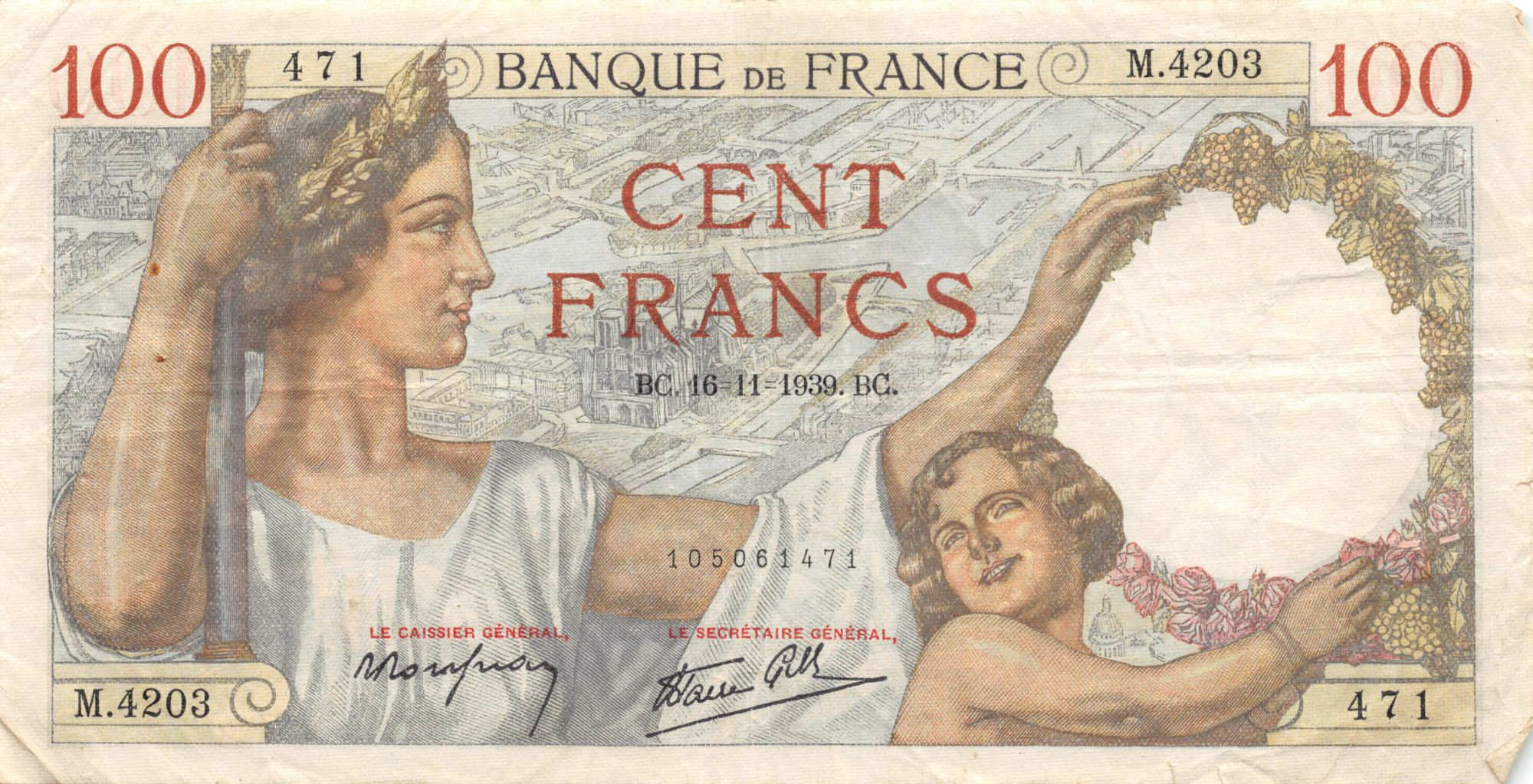 France 100 Francs Sully - 16-11-1939 Série M.4203 - TTB