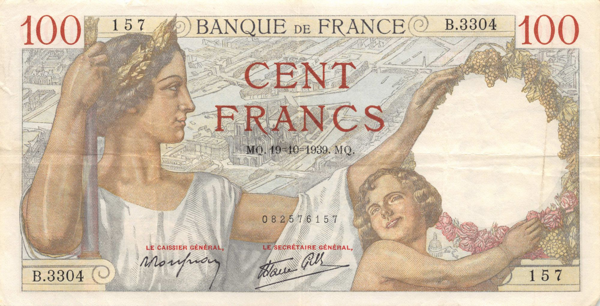 France 100 Francs Sully - 19-10-1939 Série B.33304 - TTB