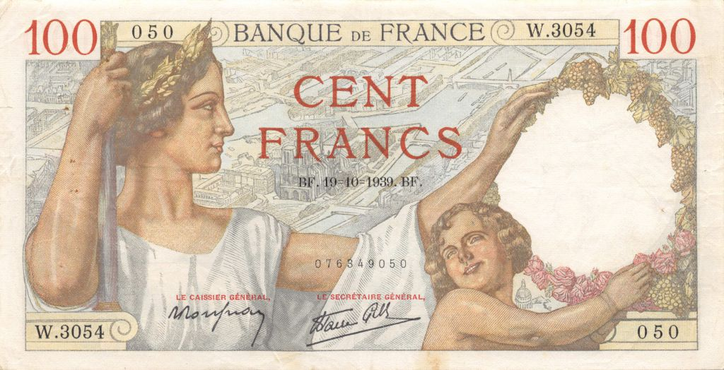 France 100 Francs Sully - 19-10-1939 Série W.3054 - TTB
