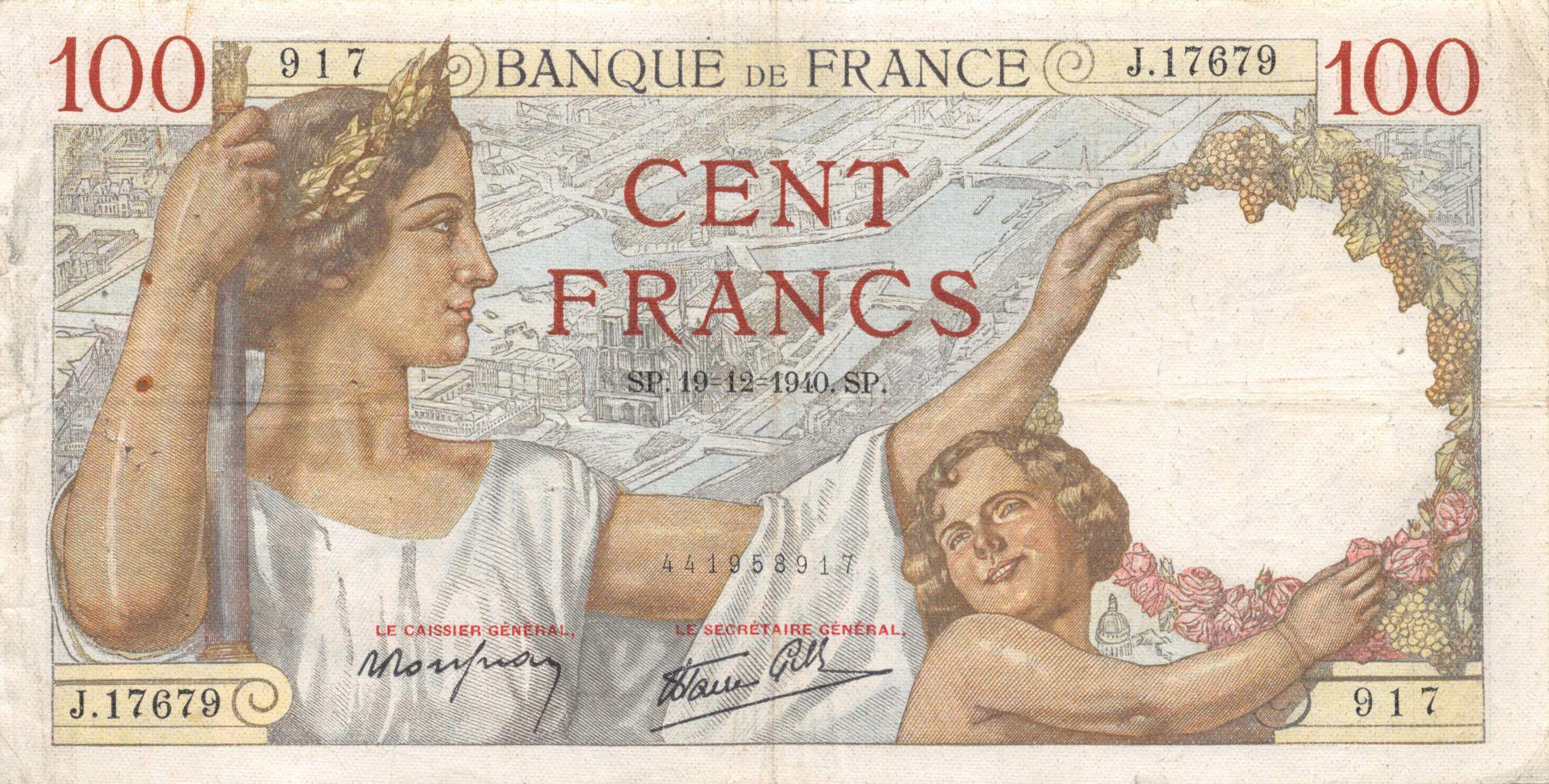 France 100 Francs Sully - 19-12-1940 Série J.17679 - TB+