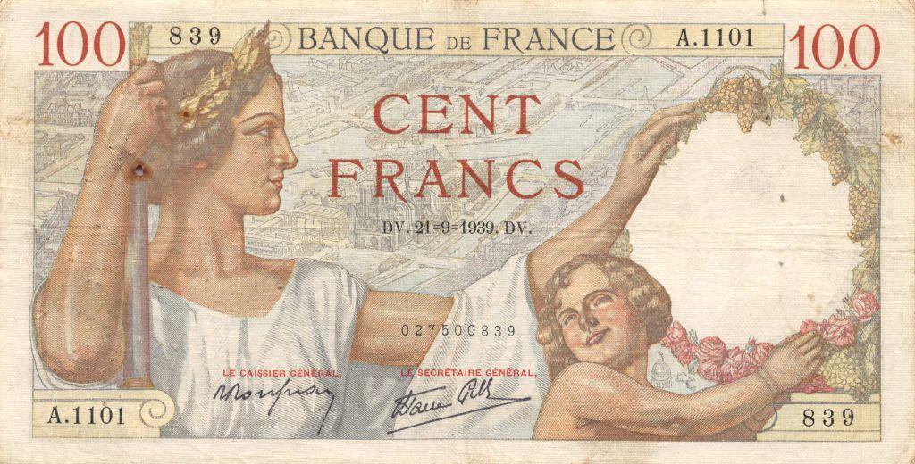 France 100 Francs Sully - 21-09-1939 Série A.1101 - TTB