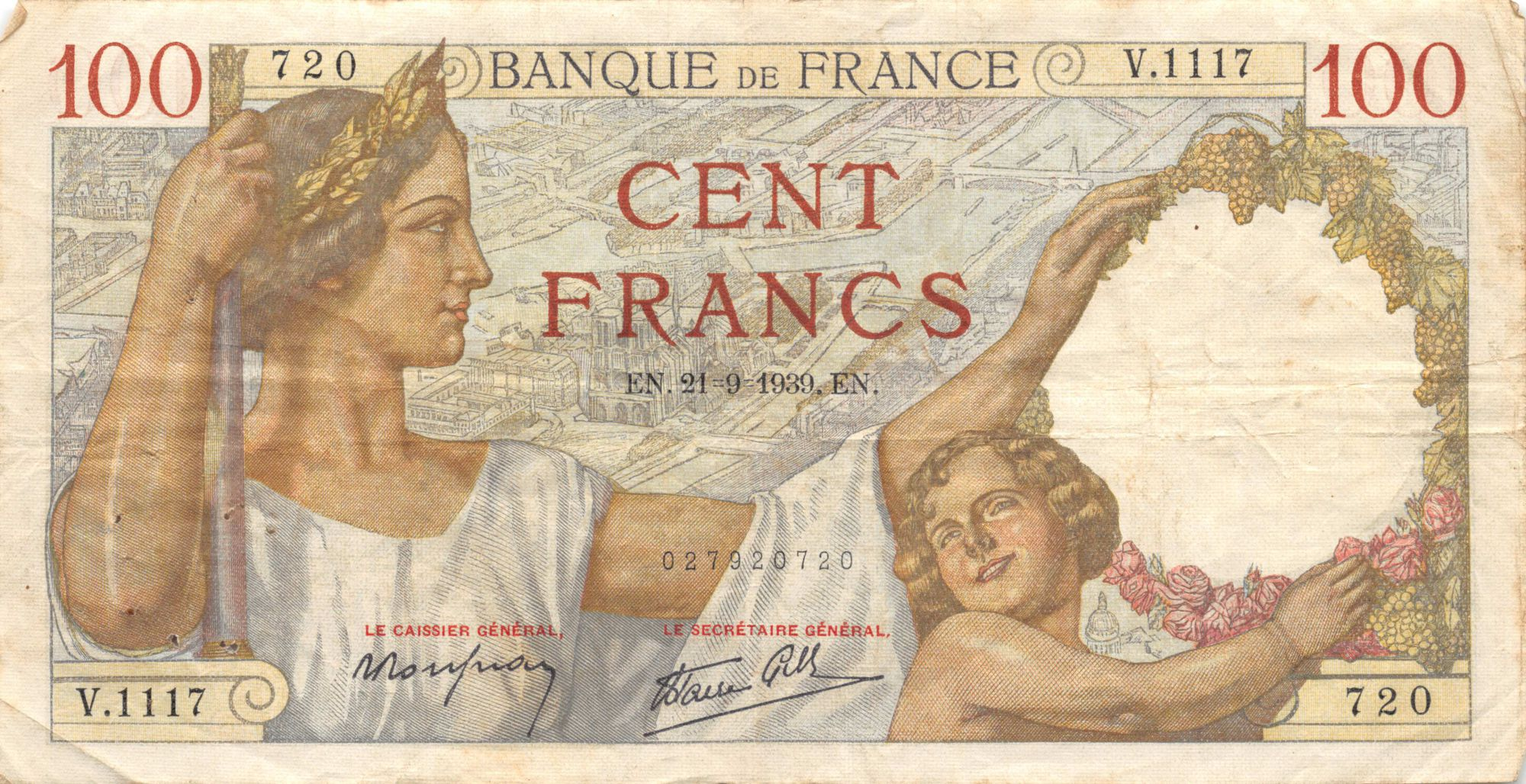 France 100 Francs Sully - 21-09-1939 Série V.1117 - TTB
