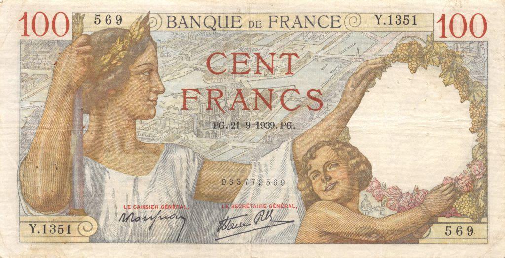 France 100 Francs Sully - 21-09-1939 Série Y.1351 - TTB