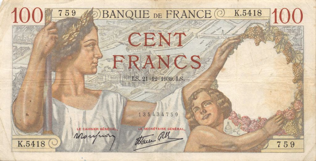 France 100 Francs Sully - 21-12-1939 Série K.5418 - TTB