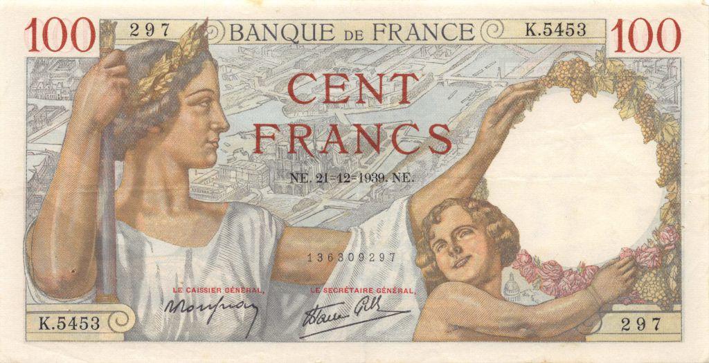 France 100 Francs Sully - 21-12-1939 Série K.5453 - SUP