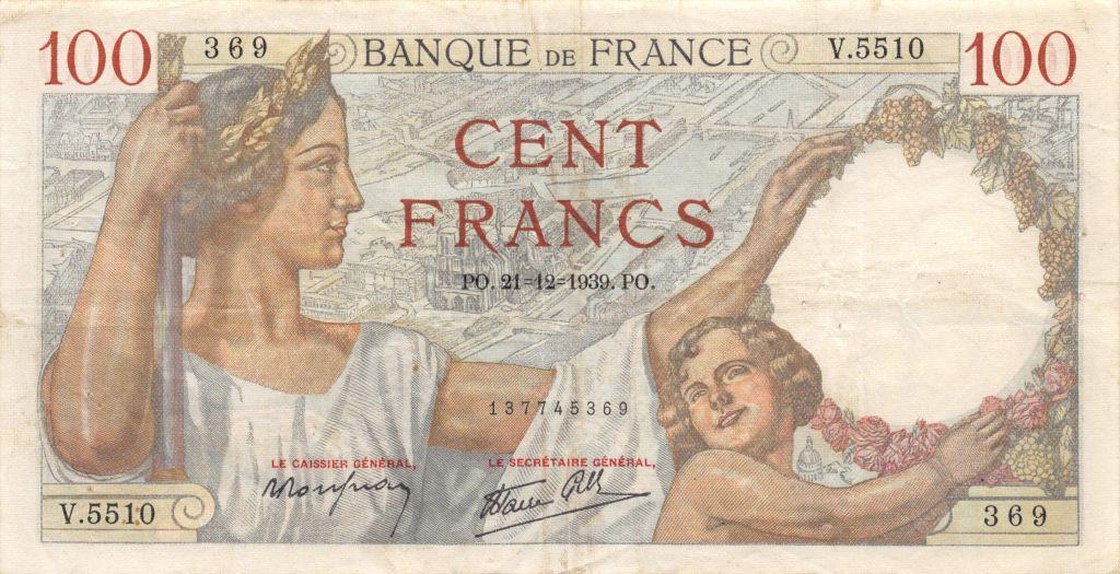 France 100 Francs Sully - 21-12-1939 Série V.5510 - TTB