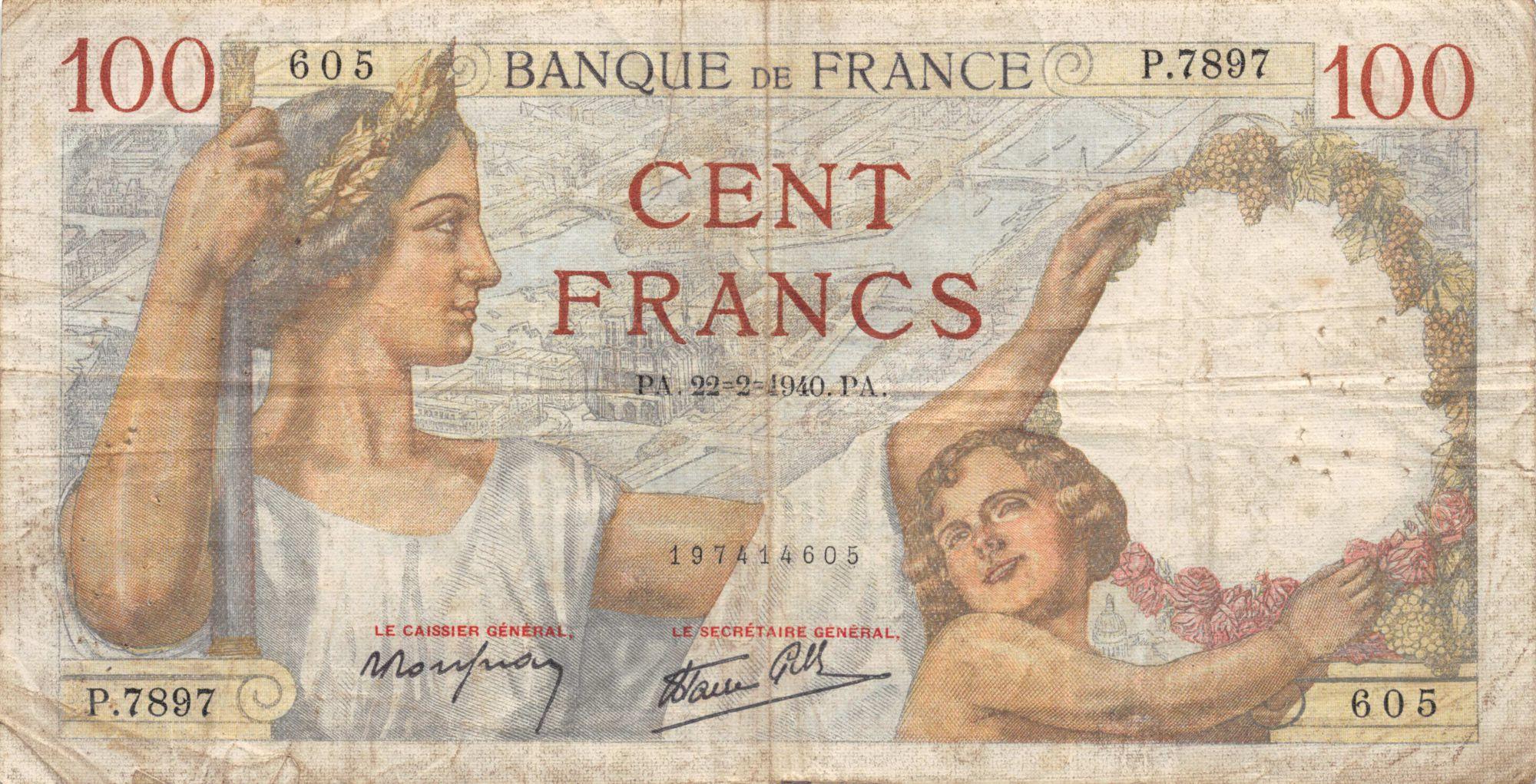France 100 Francs Sully - 22-02-1940 Série P.7897 - TB