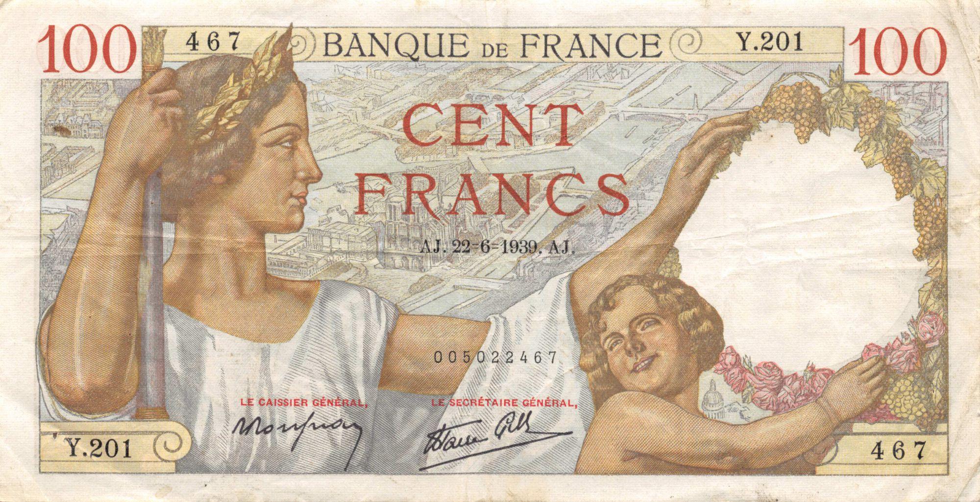 France 100 Francs Sully - 22-06-1939 Série Y.201 - TTB
