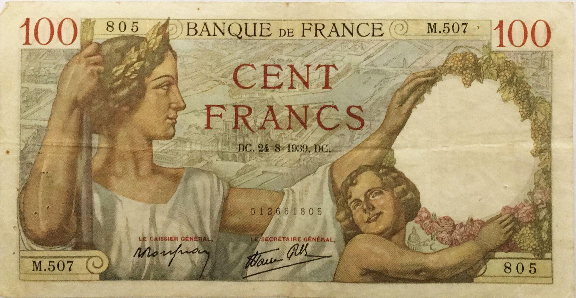 France 100 Francs Sully - 24-08-1939 Série M.507 - TTB