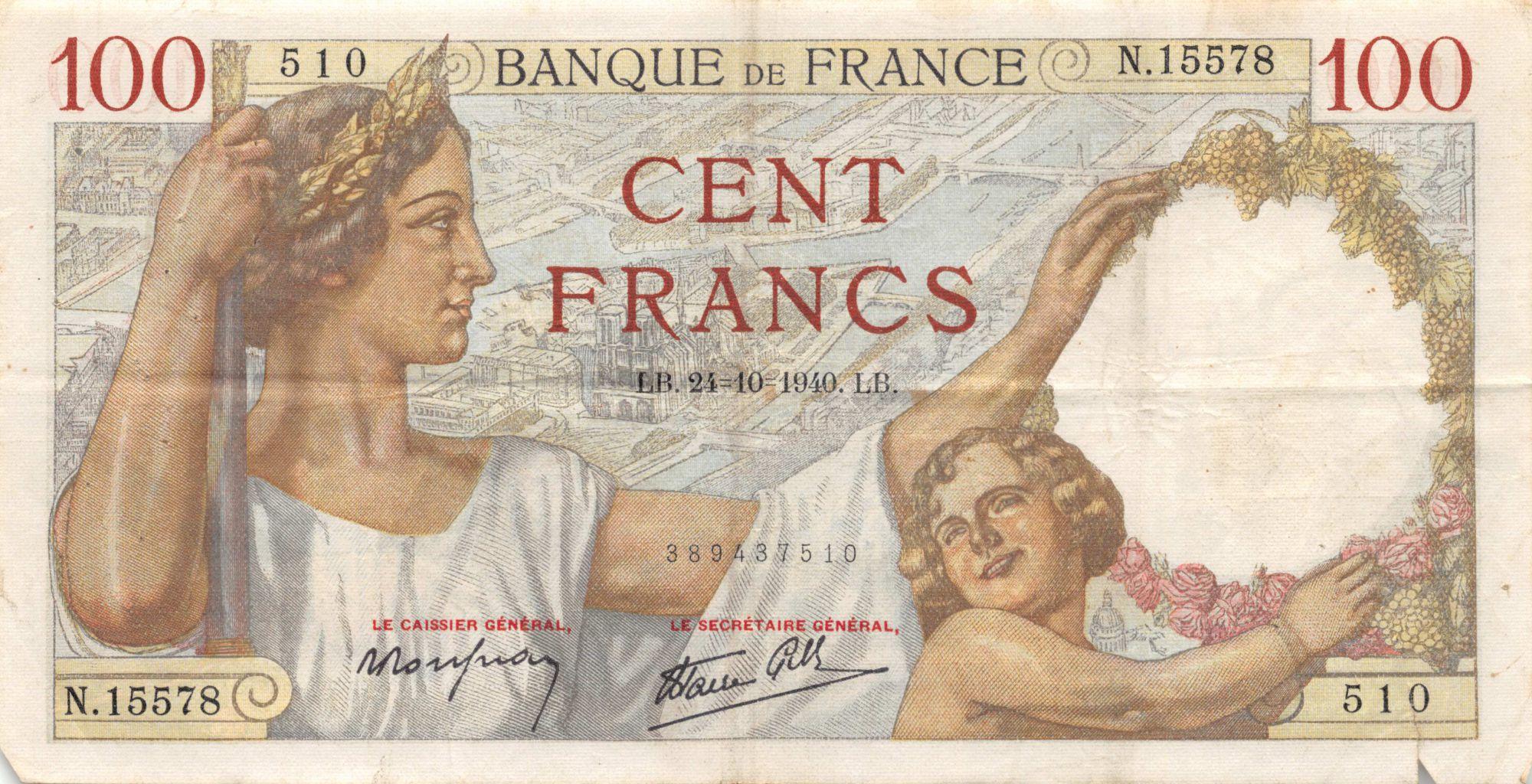 France 100 Francs Sully - 24-10-1940 Série N.15578 - TB