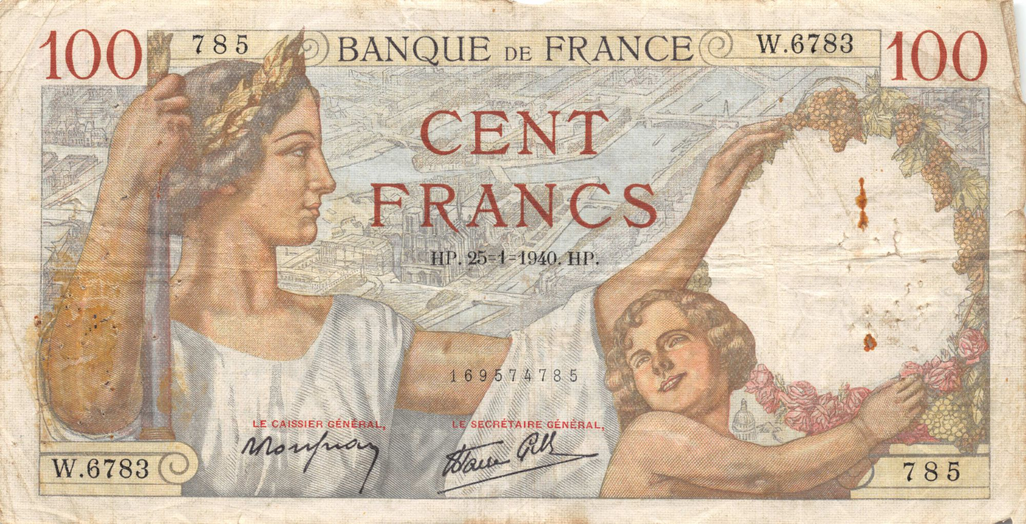 France 100 Francs Sully - 25-01-1940 Série W.6783 - TB