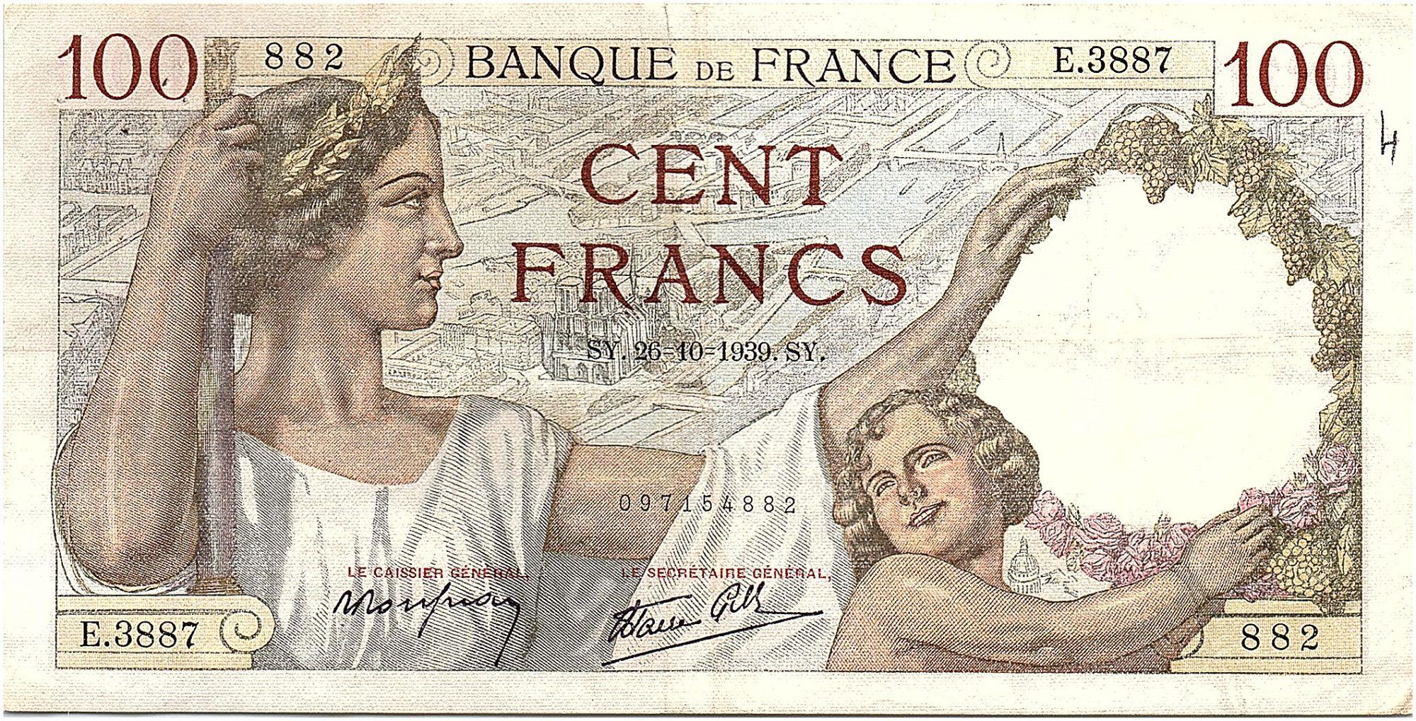 France 100 Francs Sully - 26-10-1939 Série E.3887 - TTB