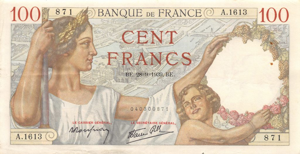 France 100 Francs Sully - 28-09-1939 Série A.1613 - TTB