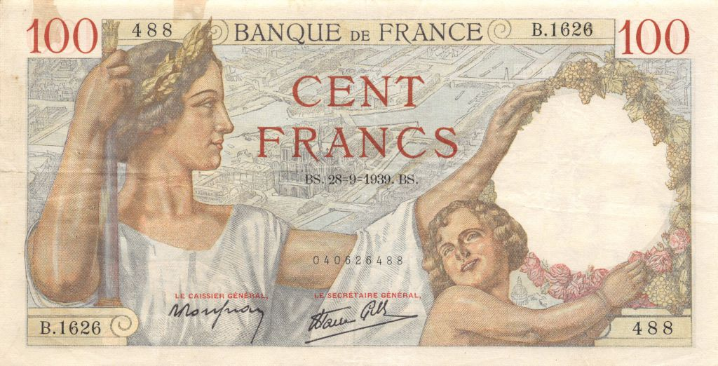 France 100 Francs Sully - 28-09-1939 Série B.1626 - TTB