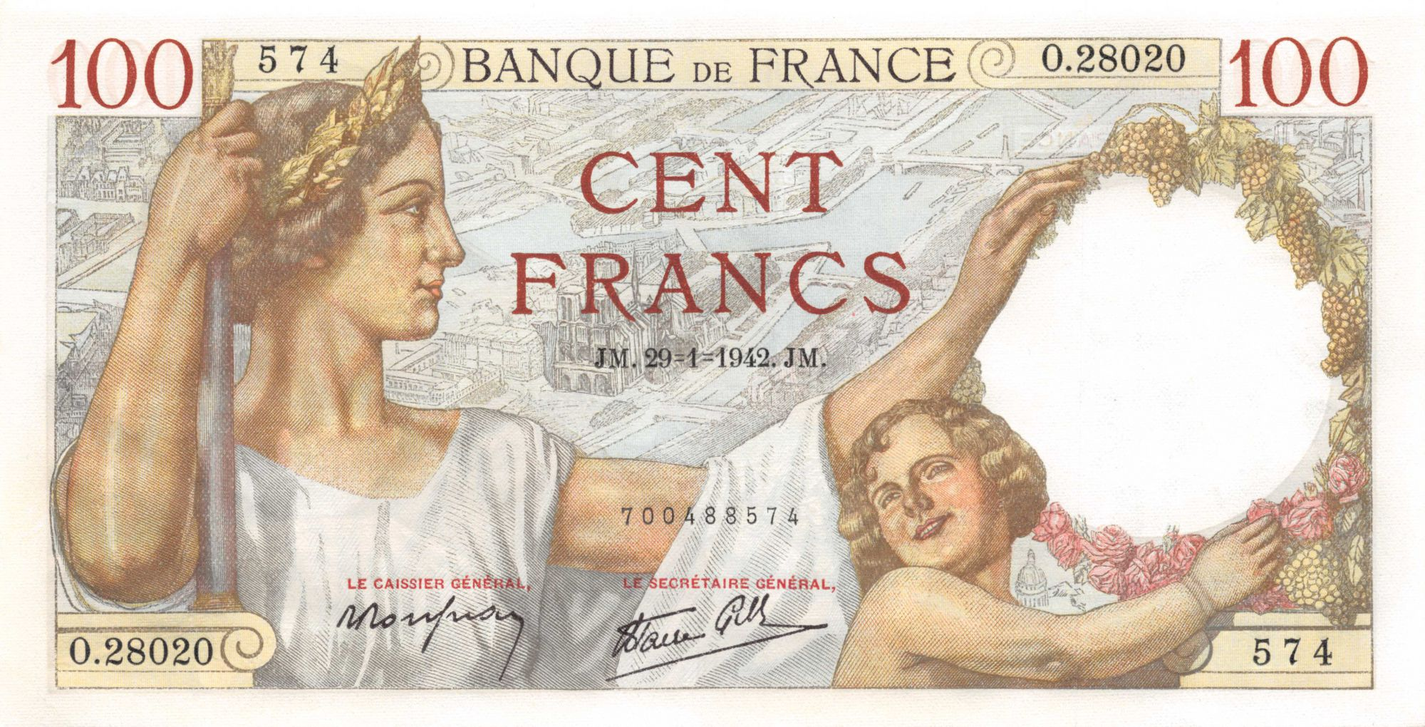 France 100 Francs Sully - 29-01-1942 Serial O.28020 - aUNC