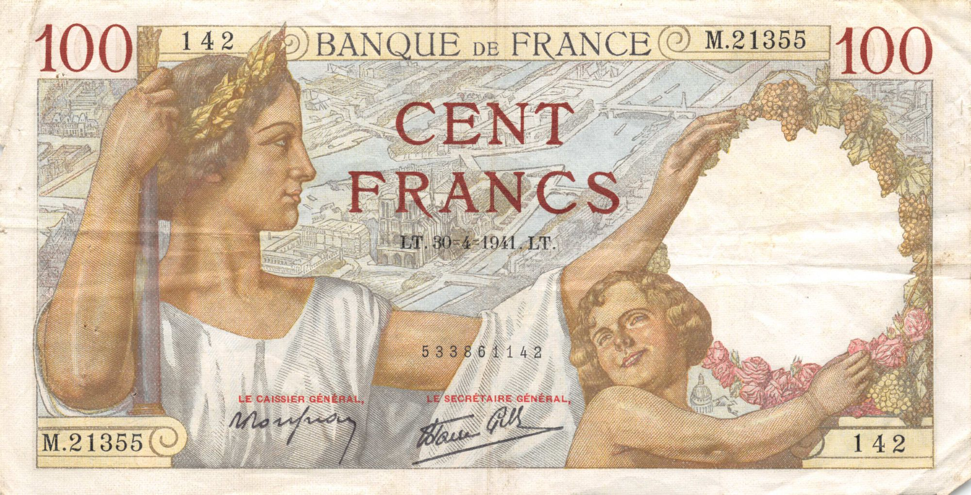 France 100 Francs Sully - 30-04-1941 Série M.21355 - TTB