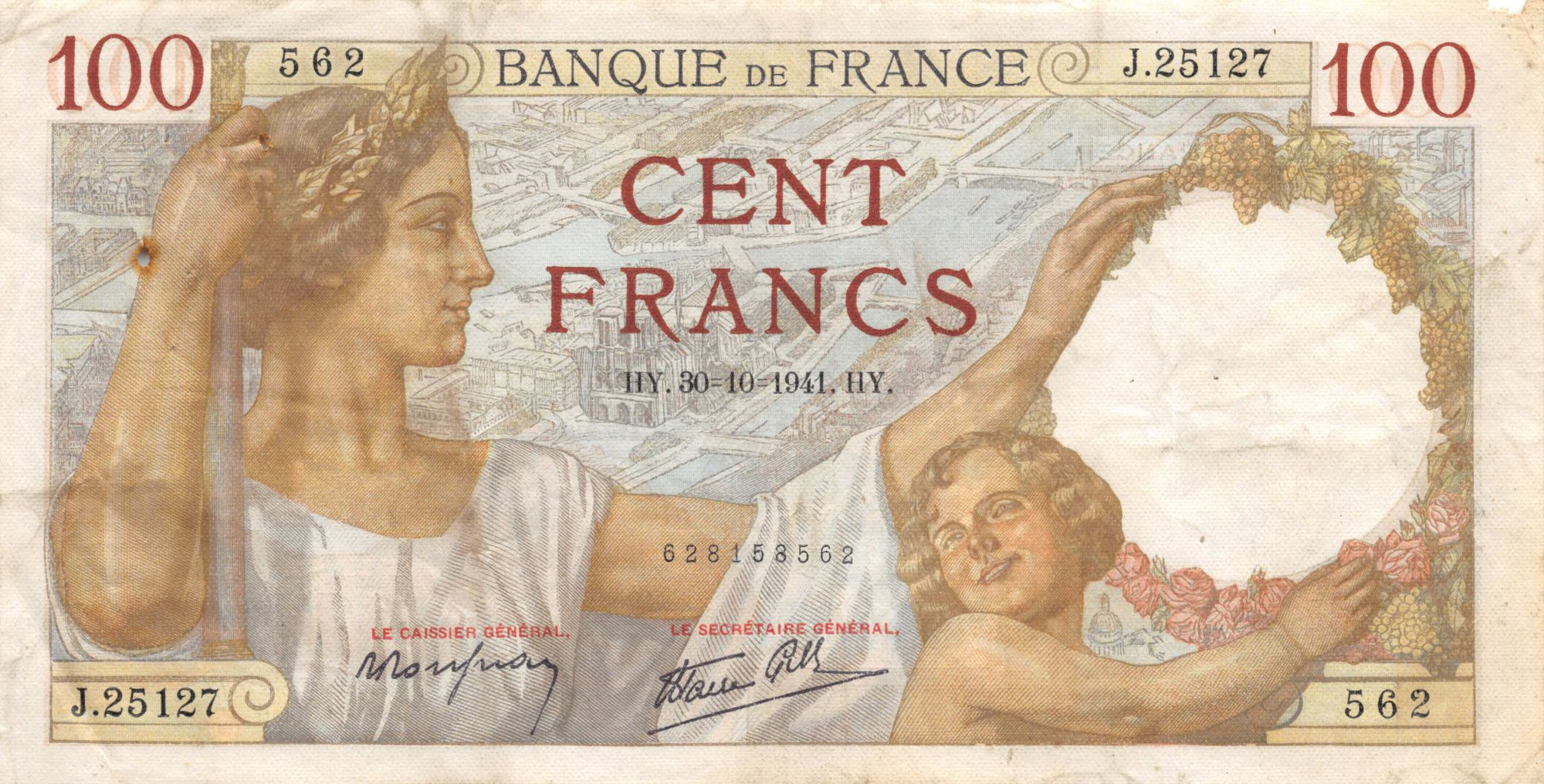 France 100 Francs Sully - 30-10-1941 Serial J.25127 - F+