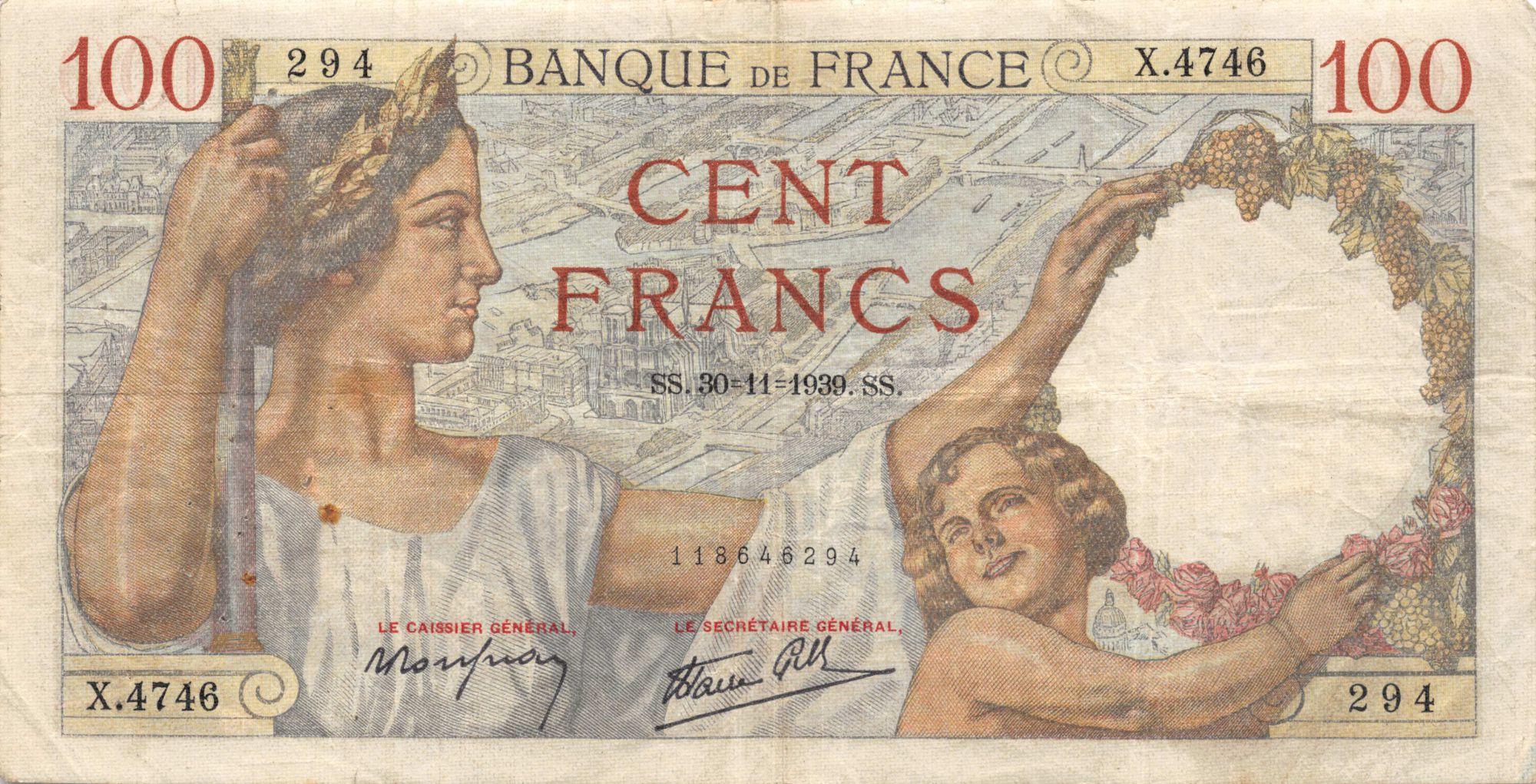 France 100 Francs Sully - 30-11-1939 Série X.4746 - TB+