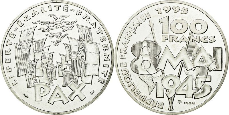 France 100 Francs Victory in Europe WWII - 8 May 1945 - Silver - Essai - AU