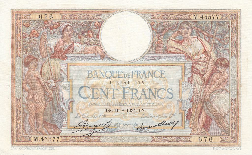 France 100 Francs Women and childs - 16-08-1934 Serial M.45577