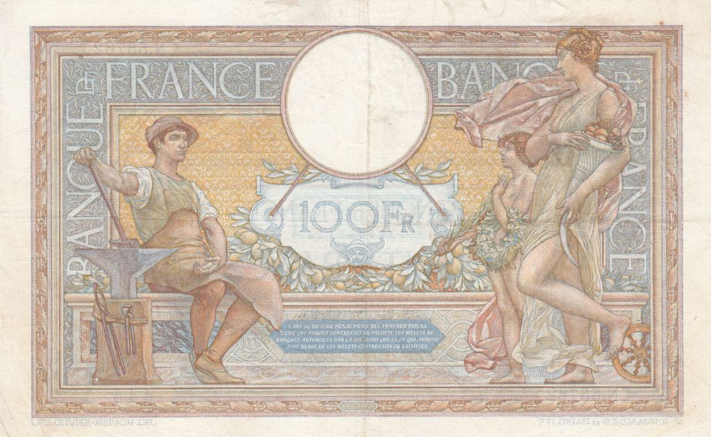 France 100 Francs Women and childs - 21-10-1937 Serial N.55762