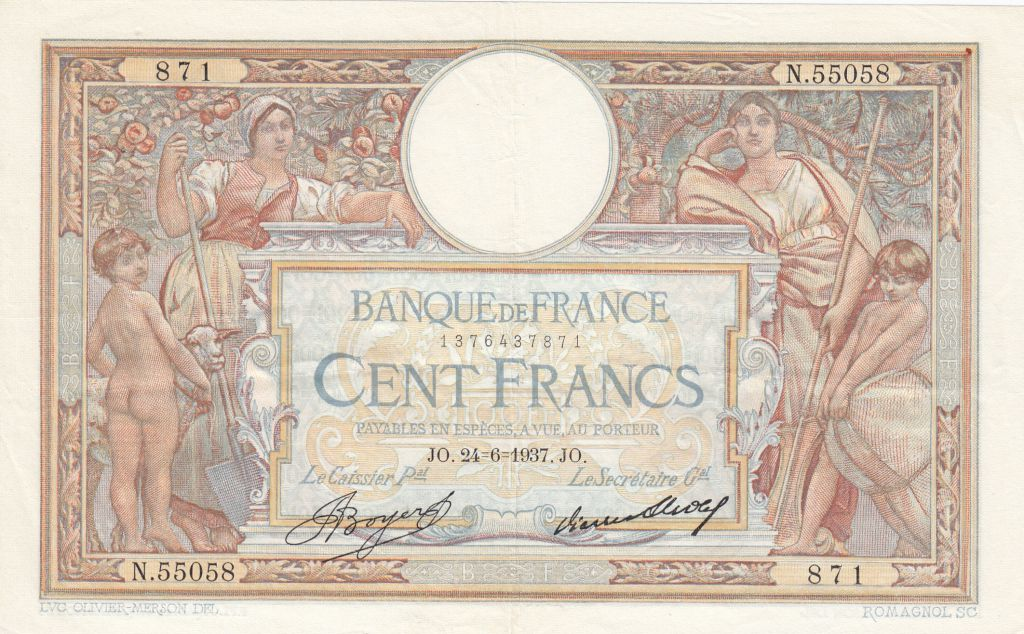 France 100 Francs Women and childs - 24-06-1937 Serial N.55058